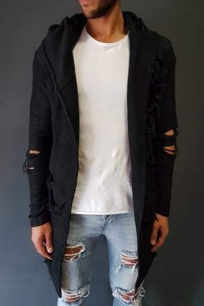 MAXI CARDIGAN LA HAINE DESTROYED BLACK